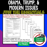 Obama & Trump,  American History Outline Notes, American History Test Prep, American History Test Review, American History Study Guide, American History Summer School, American History Unit Reviews, American History Interactive Notebook Inserts