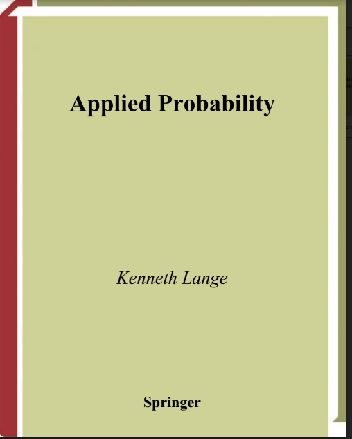 Applied Probability By Kenneth Lange