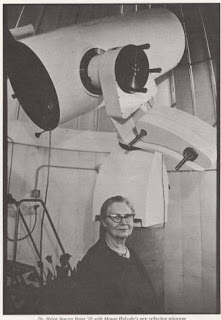 Photo caption: Dr. Helen Sawyer Hogg '26 with Mount Holyoke's new reflecting telescope. Photo source: Mount Holyoke Digital Collection.