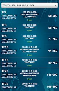 Paket Internet Telkomsel isi Ulang Kuota 2GB 3GB 8GB 10GB 12GB 23GB 35GB