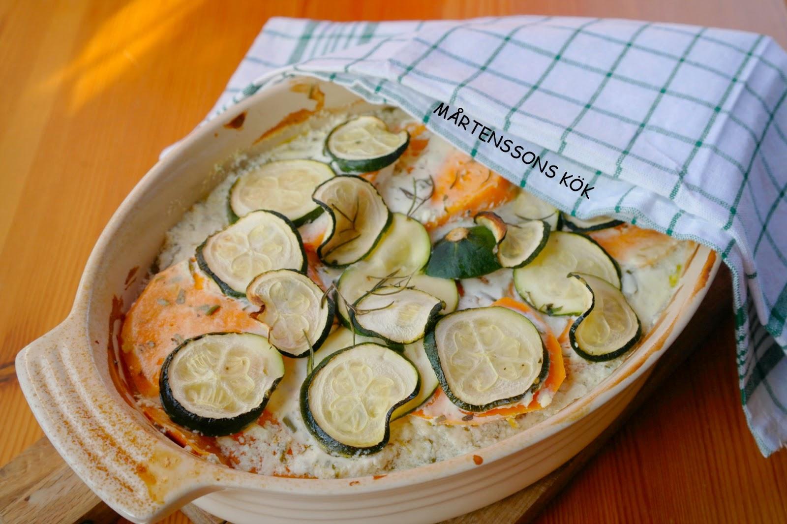 Sötpotatisgratäng med zucchini
