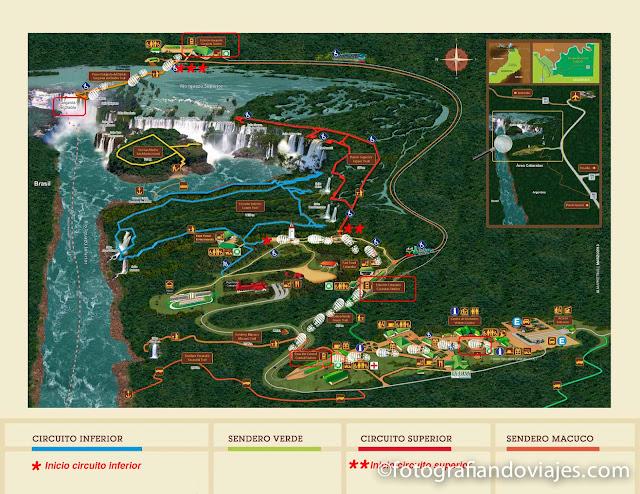 mapa  plano cascadas  Iguazu Argentina