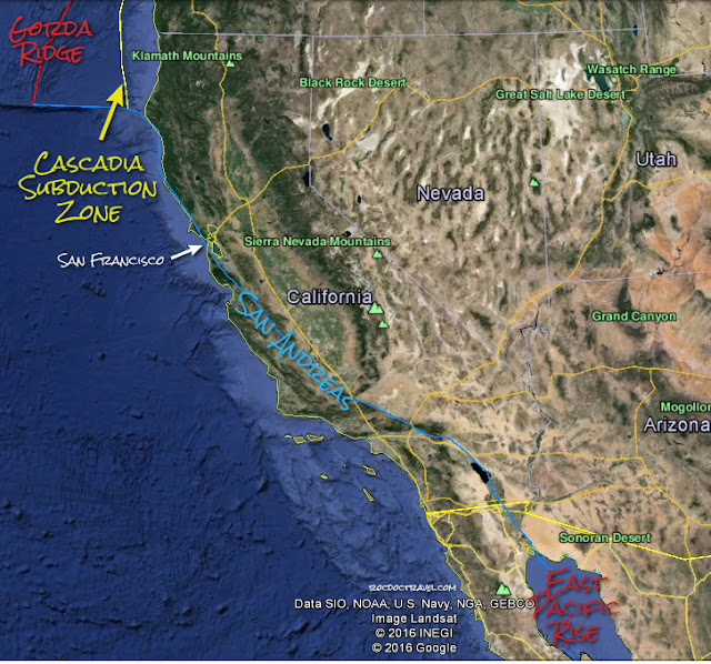 Google Earth map with USGS plate boundaries, annotations by RocDocTravel.com