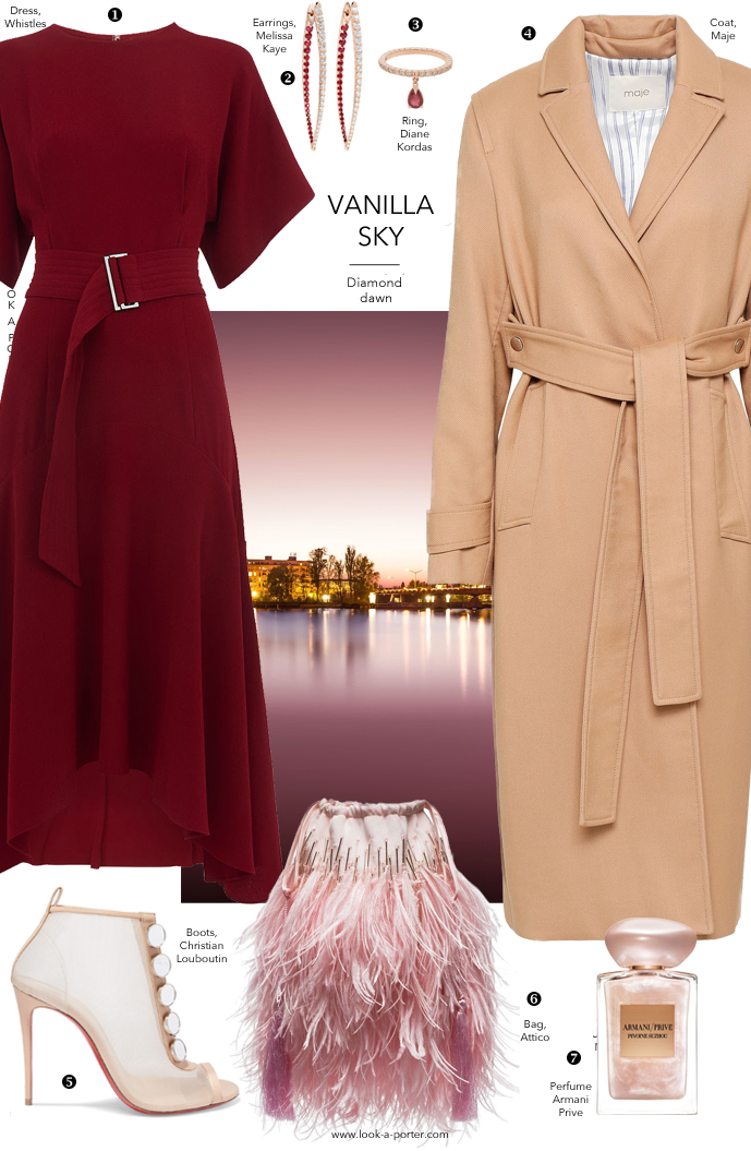 Styling a burgundy whistles dress with  classic camel coat, attico feather bag, louboutin shoes and ruby jewellery for an evening going out outfit for look-a-porter.com fashion blog
