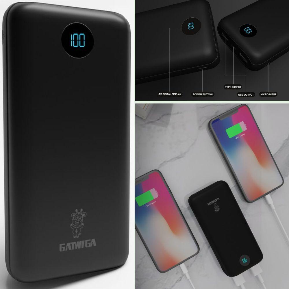 Gatwiga PowerBank A203: 20000mAh High Capacity Mini Power Bank with Dual USB Charging Port for Smartphones