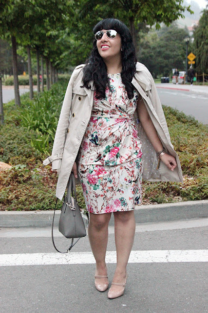 Trench Coat and Floral Dress SF Blogger Spring Office Outfit