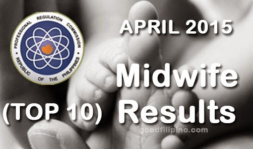 Top Ten Midwife Board Exam Passers (April 2015) - List of Passers