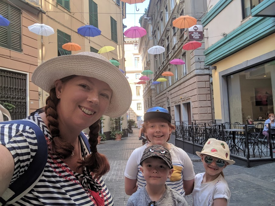 How to spend a weekend in Genoa with kids - umbrellas in street