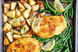 Crispy Sheet Pan Lemon Parmesan Garlic Chicken & Veggies Recipe (Milanese)
