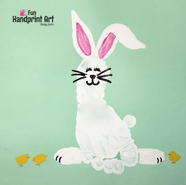 Easter bunny footprint craft idea for kids