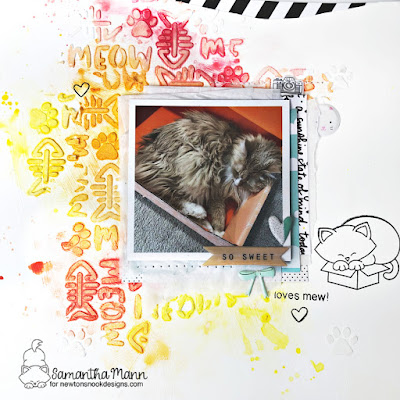 Place Cat Here Scrapbook Layout by Samantha Mann for Newton's Nook Designs, Mixed Media, Scrapbooking, Layout, Watercolor, Stamping, Sewing, Machine stitching #newtonsnook #scrapbook #scrapbooking #mixedmedia #watercolor #layout