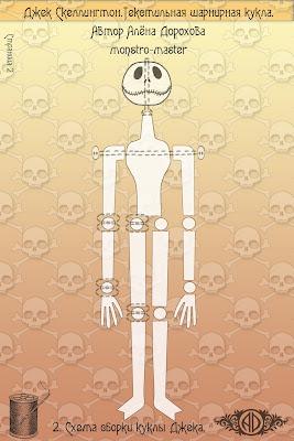 ADdoll_Jack_2_Выкройка_Джек_Скеллингтон авторская текстильная шарнирная кукла Алёны Дороховой