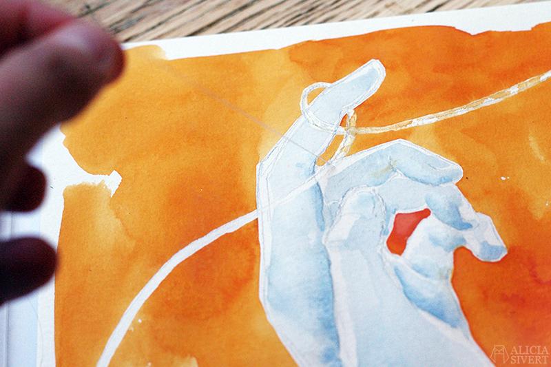aliciasivert alicia sivert sivertsson akvarell aquarelle vattenfärg watercolor watercolour måla målning måleri paint painting konst konstverk art målningar paintings hand tråd yarn garn thread loophole captain beefheart autumn's child got a loophole round her finger löpögla ögla knop knut fingrar rita teckna teckning drawing draw hands skapande kreativitet skapa maskeringsvätska masking fluid