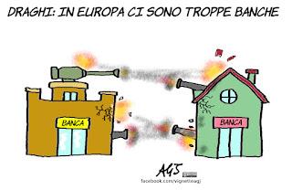 banche, draghi, europa, economia, satira, vignetta