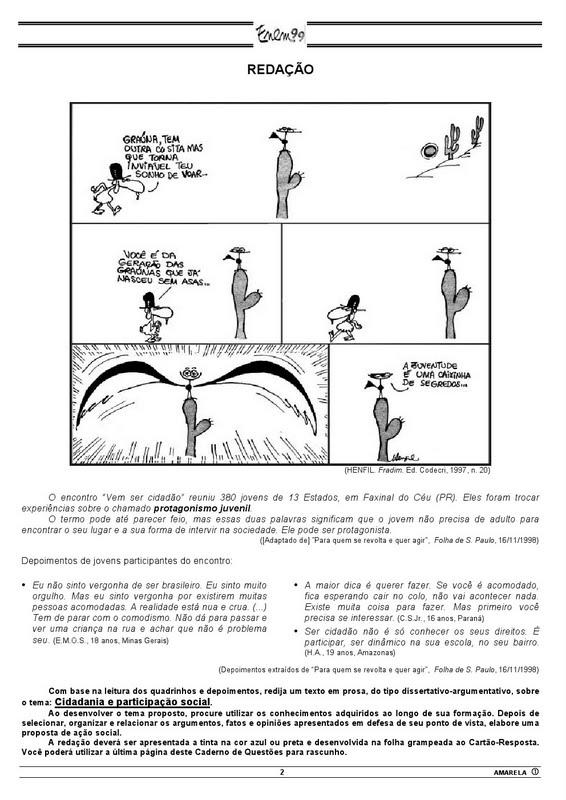 Enem 1999: Gabarito e Prova Caderno Amarelo.