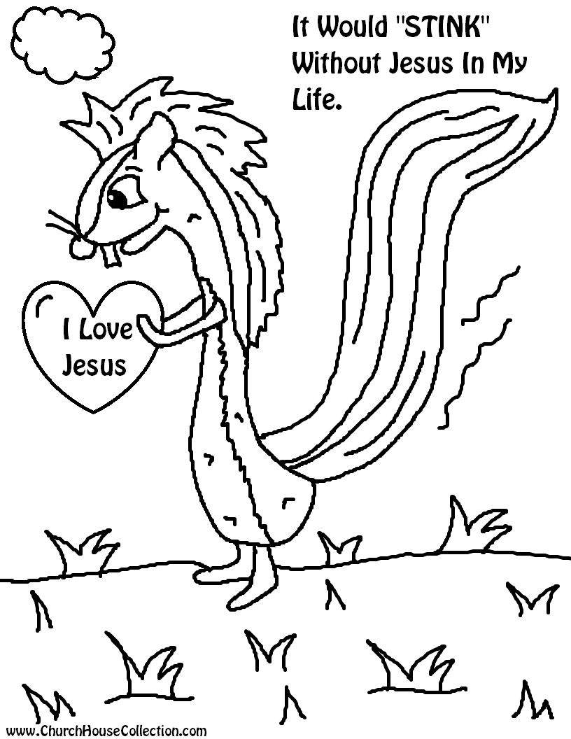 "Valentine's Day Skunk Coloring Page- It Would ""STINK"" Without Jesus In My Life!  Free Printable For Kids For Sunday School or Children's Church by Church House Collection"