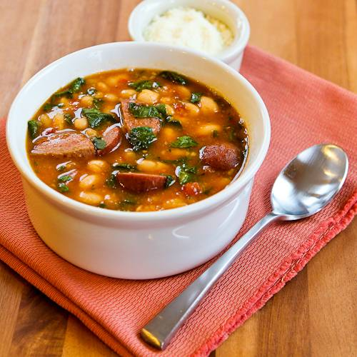 Paleo Chicken and Tomato Stew with Arugula and Cannellini