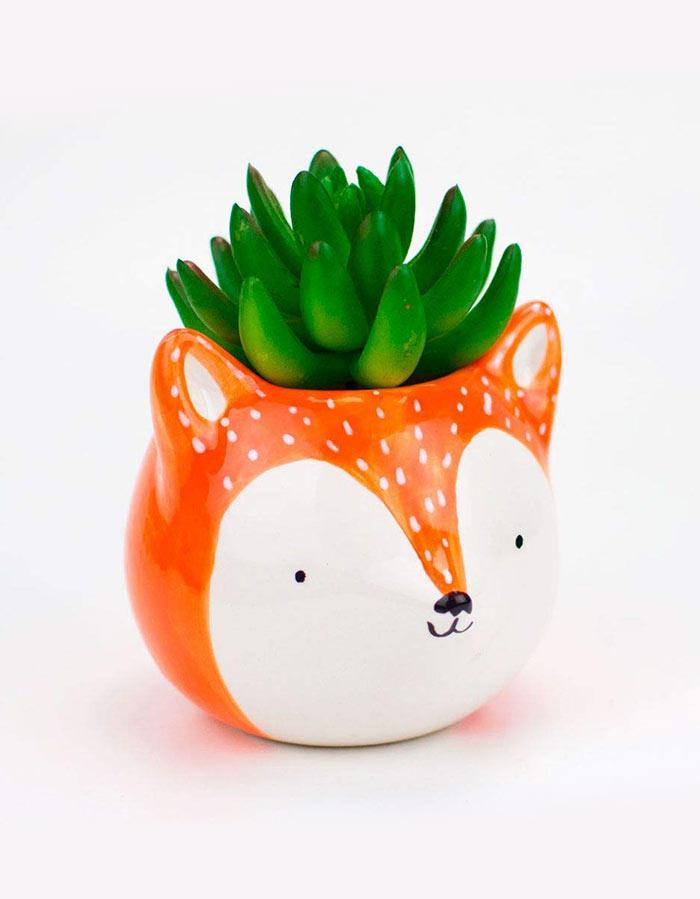 Cachepot de cerâmica raposa laranja,perfeito para decorar com suculentas