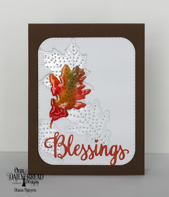 Our Daily Bread Designs Stamp/Die Duo:Blessings, Custom Dies: Stitched Leaves, Double Stitched Rounded Rectangles, Paper Collection: Fall Favorites