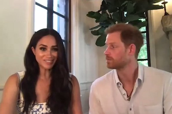 Meghan Markle wore Brock Collection floral print midi dress. Prince Henry and Meghan attended a meeting from new home in Santa Barbara