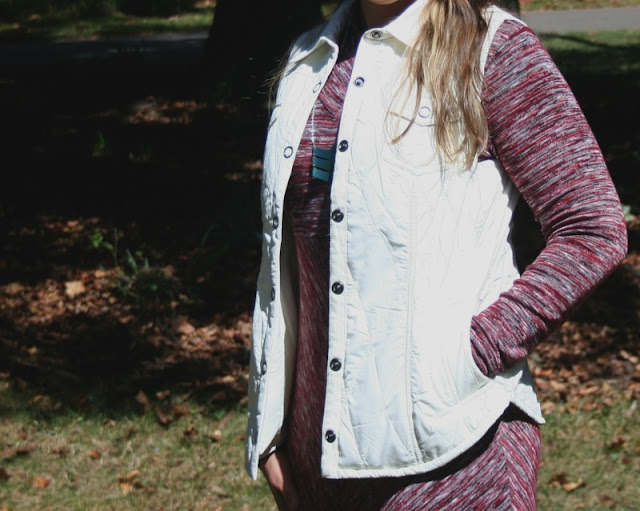 A quilted vest is the perfect outer layer to wear when you do not need a heavy coat. I am pairing it with one of my fall essentials...a sweater dress!