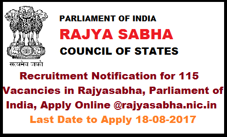 Recruitment Notification for 115 Vacancies in Rajyasabha, Parliament of India, Apply Online @rajyasabha.nic.in Parliament of India Rajyasabha Secretariat Recruitment Cell Notification for 115 Vacancies. 115 posts in Rajyasabha, Rajyasabha Secretariat Notification for 115 Vacancies, jobs in rajyasabha Parliament of India,Last date to apply posts in rajyasabha 18-08-2017 recruitment-notification-for-115-vacancies-in-rajyasabha-parliament-of-india-apply-online, Recruitment in Rajyasabha Apply Online