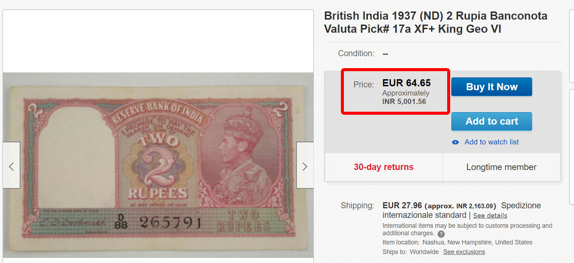 Indian Very Rare 2 Rupee Sell in High Price