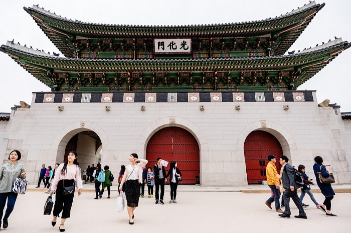 Gwanghwamun 광화문 gate of Gyeongbok-gung 경복궁 Palace