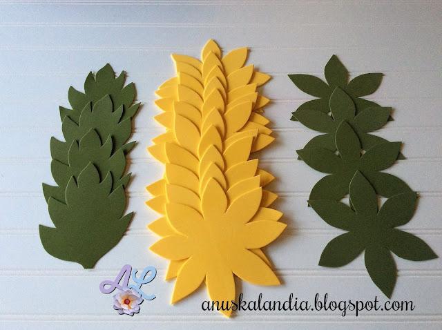 Girasoles-goma-eva-foamy-flores-goma-eva-pétalos-hojas-y-sépalo-recortados-Anuskalandia