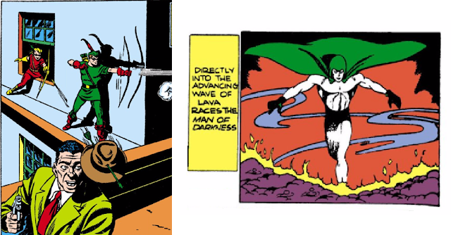 More Fun Comics (1935) #73 LEFT: Page 11 Panel 1: Green Arrow & Speedy stop some thieves with their fancy shooting; RIGHT: Page 43 Panel 2: The Spectre rises out of some misplaced lava in the middle of the city.