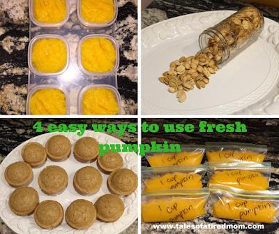 4 ways to use a fresh pumpkin (DIY HOMEMADE BABY FOOD, pumpkin muffins, freezable fresh pumpkin bags, pumpkin seeds) Fall is here!