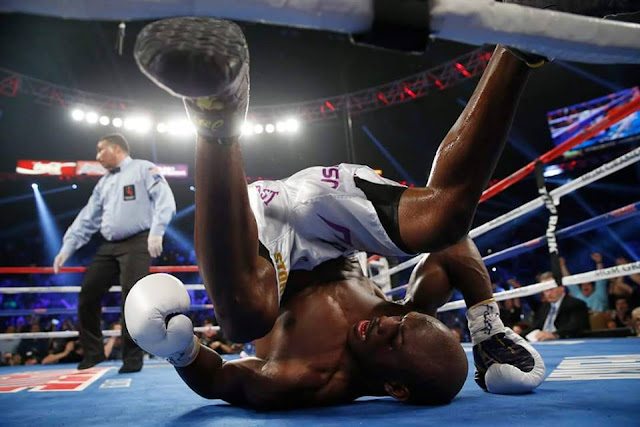 Bradley rolled over the floor after getting clipped by Pacquiao