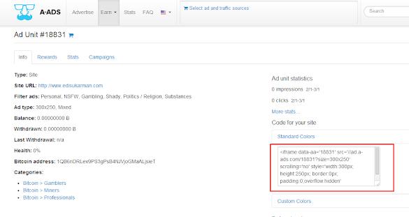 Cara mendapatkan bitcoin dengan pasang baner a-ads.com