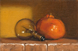 Oil painting of a small incandescent light bulb beside a mandarine.