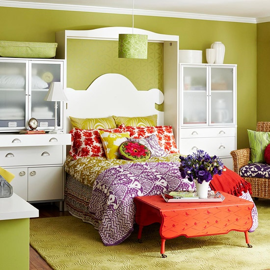 Ideas For Bedrooms: Lime Green And Orange Bedroom