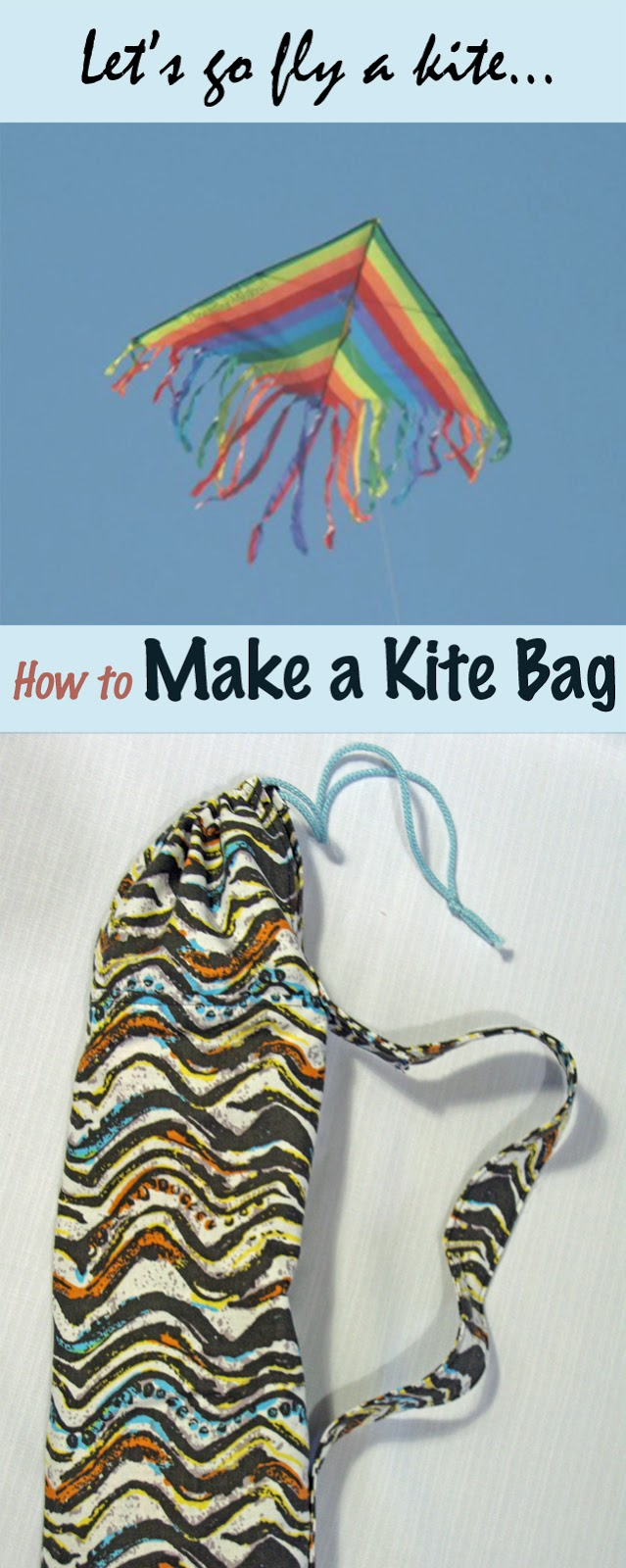 How to easily make a drawstring kite bag. Tutorial at Threading My Way