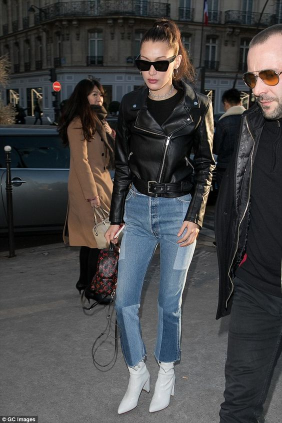 Bella Hadid Biker Jacket Jeans White Ankle Boots Model off Duty street style