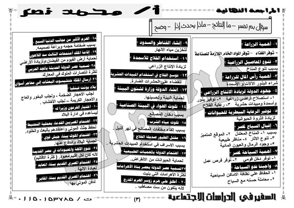 المراجعة النهائية لرابعة ابتدائي في مادة الدراسات الاجتماعية ترم ثاني ا/ محمد نـصـر  3