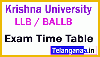 Krishna University LLB / BA LLB Exam Time Table