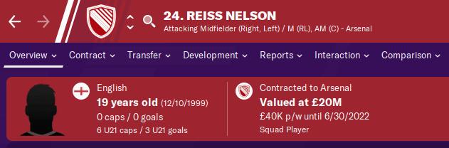 FM20 Wonderkid - Reiss Nelson