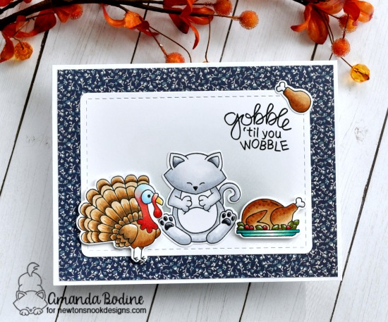 Thanksgiving cat card by Amanda Bodine | Newton's Thanksgiving Stamp Set by Newton's Nook Designs #newtonsnook #handmade