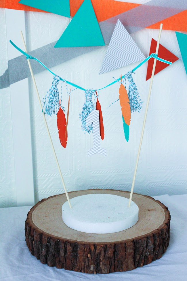 feather and tassel birthday cake bunting tutorial