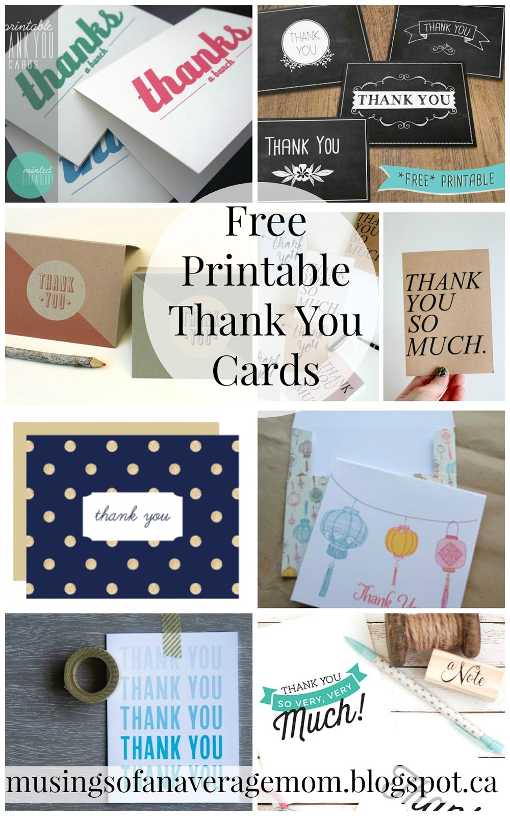 musings of an average mom free printable thank you cards