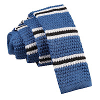 MENS KNITTED BLUE WITH BLACK AND WHITE THIN STRIPE TIE
