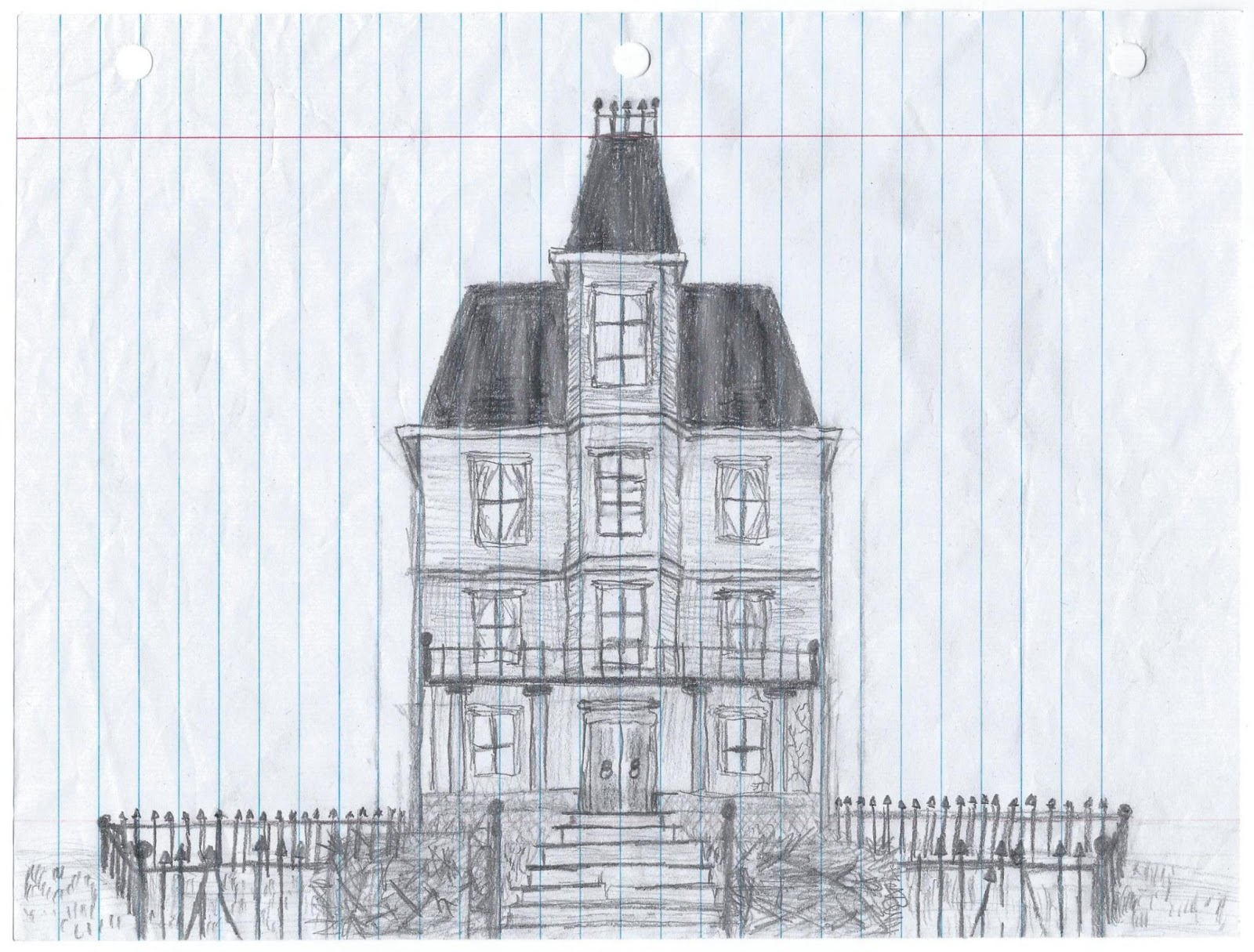 My Ten Year Old Sons Haunted Mansion Drawing He Continually Blows Me Away With His Artistic Skills I Wish Had Half The Talent Does At