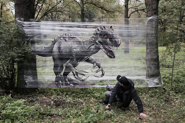 evgeny-ches-cellograffiti-animales y graffitis pintados-sobre-plástico-transparente