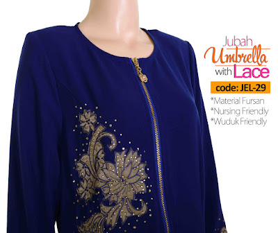 Jubah Umbrella Lace JEL-29 Blue Depan 10