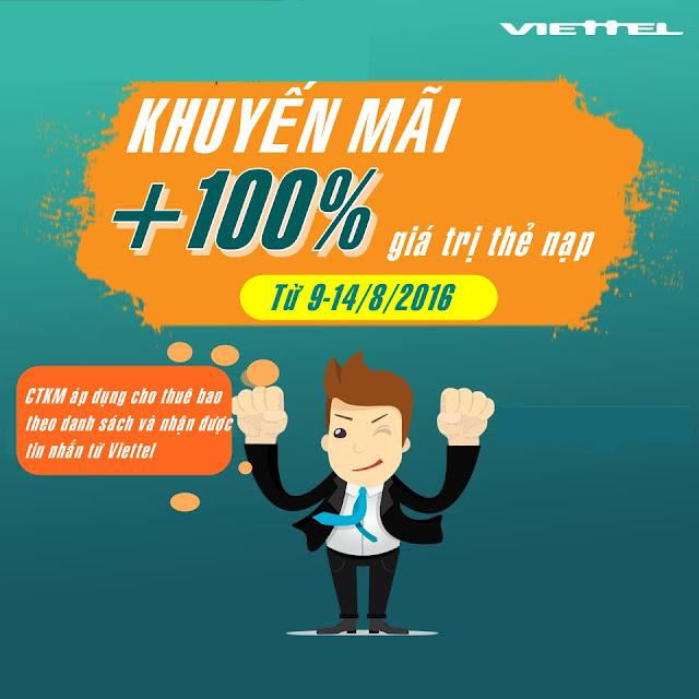 Khuyến mãi 100% giá trị thẻ nạp Viettel từ ngày 9-14/8/2016