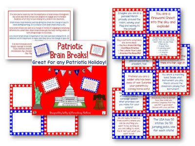 These Patriotic Brain Breaks can be used for any Patriotic holiday: Constitution Day, Veterans Day, Presidents Day, Memorial Day, Flag Day, or Independence Day!