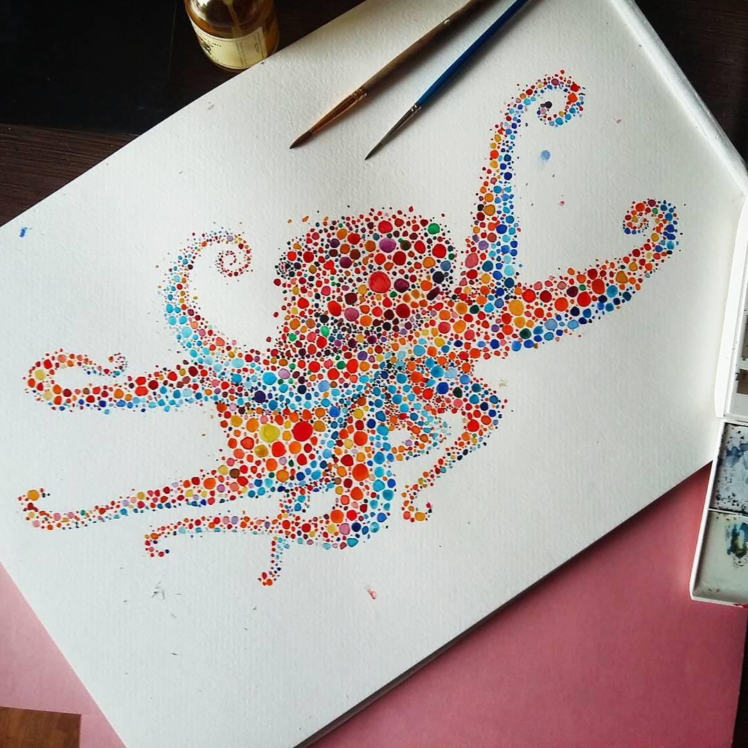 12-Octopus-Ana-Enshina-anaensh-Dot-and-Circle-Animal-Paintings-Ishihara-Test-www-designstack-co